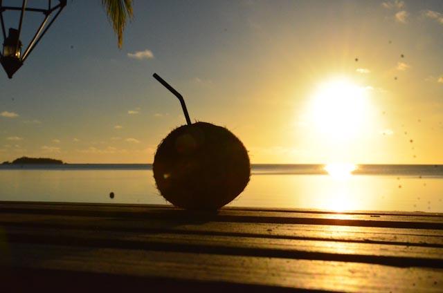 Kokosnøtt i solnedgang ...