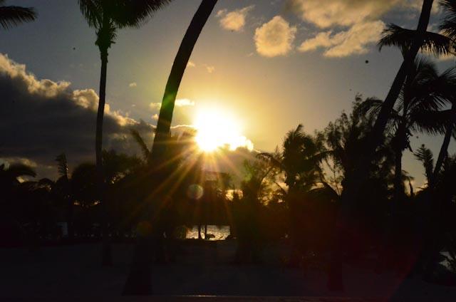Solnedgang fra terrassen